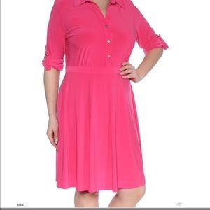 Pretty pink shirt dress NWOT size XL